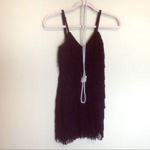 Black flapper fringe dress costume pearls